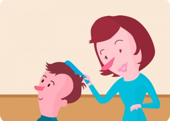 Madre pinando a su hijo